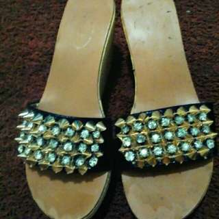 SANDAL WEDGES With stud n zircons  IMPORT