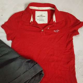 Authentic Hollister red polo shirt