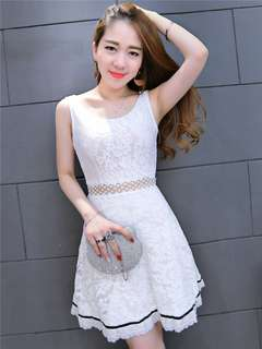 AO/MKC071918 - Stylish Korean Waist Hollow Out Sleeveless Lace Dress