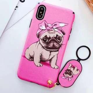 手機殼IPhone6/7/8/plus/X : 調皮Bulldog牛頭犬配掛件