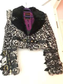 Runway rabbit fur lamb leather jacket