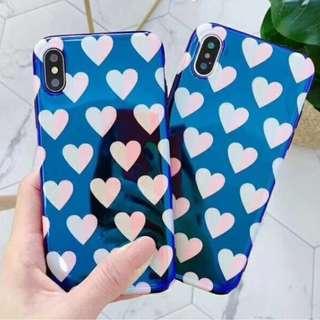 手機殼IPhone6/7/8/plus/X : 簡約藍底愛心藍光全包軟殼