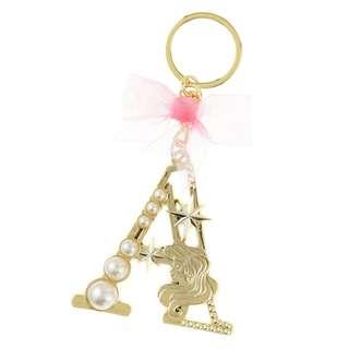 日本 Disney Store 直送 The Little Mermaid 小魚仙 Ariel 珍珠系列 Initial A 鎖匙扣