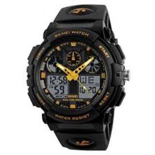 SKMEI 1270 GOLD WITH RUBBER STRAP WATCH FOR MEN - COD FREE SHIPPING
