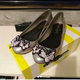 Lemon Jelly 銀色花花平底膠鞋