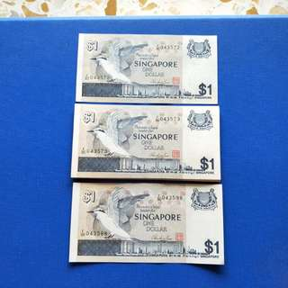 Singapore banknotes bird Series $1 25 run gem unc