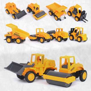 Toys Engineering vehicle series set mini Truck Loader Roller Mine car Forklift model pull back toy