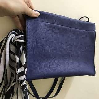 Sapphire blue寶藍信封形袋(送黑白Scarf) 斜咩*手挽都可