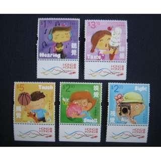 香港2017-兒童郵票:人體五感-郵票(附飛龍邊)