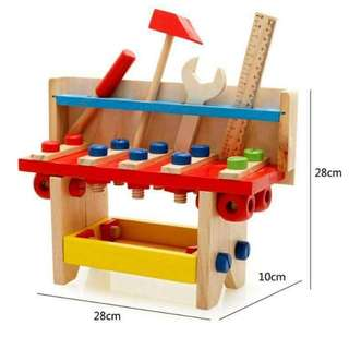 Wondertoys Wooden Carpenter Workbench with Tools Nuts Kits Pretend Construction Engineer Role Play Set Educational Toys for Children