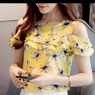 Women Off Shoulder Short Sleeve Blouse Print Floral Yellow Top
