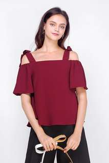 Fayth Evelyn Tie Shoulder Top