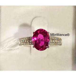 Natural Ruby 18k white gold ring engagement / Wedding ring by Mbrilliance