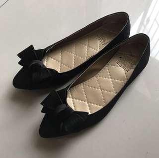Black Flat Shoes Tutu Toe