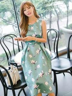 AO/KKC072252 - Charming Floral High Waist Slim Tank Dress