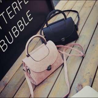 Handbag / Sling bag ; Trendy Smooth leather Crossbody Messenger Shoulder or Hand Carry Bag ; women's ladies girls woman ; pink black monochrome