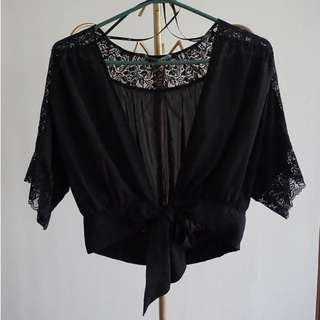 FOREVER21 Lace Panel Cover Up with Ribbon Detail