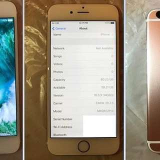 99.9% new Apple iPhone 6s 64G 64GB 玫瑰金 rose gold 無花無撞 全新耳筒usb線火牛叉電 行貨 ZP機