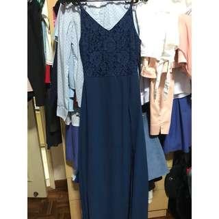 Navy Blue Dark Blue Lace Long Evening Dress
