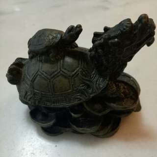 Solid Brass Fengshui Dragon Turtle Statue