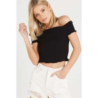 Shirred Off Shoulder crop top