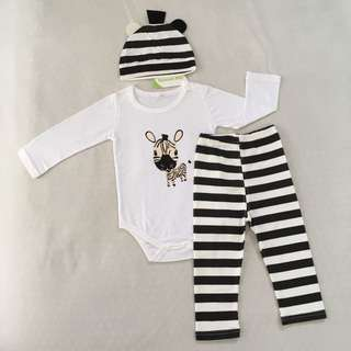Baby/Toddler Animal Zebra 3 piece set (romper+pants+hat) for Boys/Girls (1-2 years old)