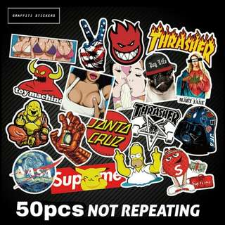 SUPER CHEAP DEAL! of Graffiti High quality Waterproof Stickers 50pcs at random to paste at Motorcycles, helmet, cars, PMDs, escooters, bicycles of brands like Santa Cruz and Supreme on special days.