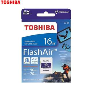 Toshiba 16GB Flash Air WT-04 High Speed Wifi memory Card (made In Japan Original) MCMC apply