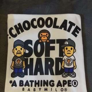 二手100%real90%new Chocolate x Softhard x Baby Milo Tee