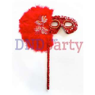 Red Masquerade Mask w/Stick