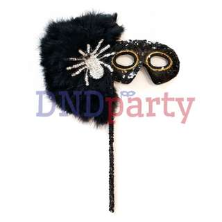 Black Masquerade Mask w/Stick