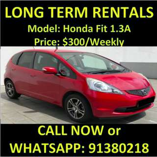 $300 Honda Fit Weekly Long Term Rentals