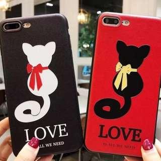 手機殼IPhone6/7/8/plus/X : 情侶款戀愛貓咪LOVE手機殼