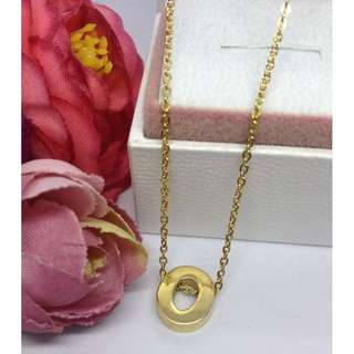 Authentic Bangkok Gold 10k Saudi Gold Chain Necklace & Initial Pendant Letter O Non Tarnish (Not Pawnable)