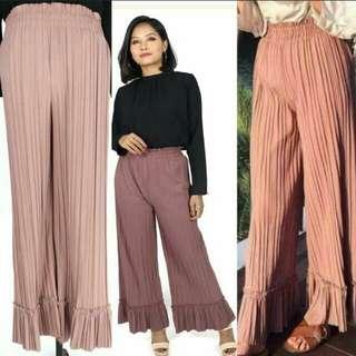 Ruffled pleated pants high waisted