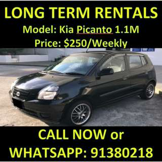 $250 Kia Picanto Manual Long Term Rentals