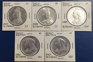 Great Britain 1/2 Crown YEAR 1887,1888,1889,1900,1901