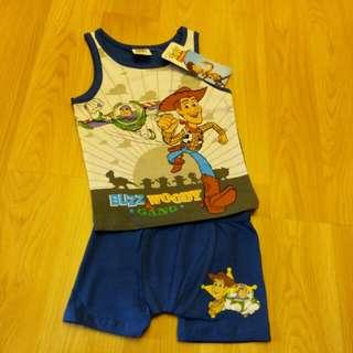 全新Disney 男童背心 tee 內褲 短褲 套裝 98碼