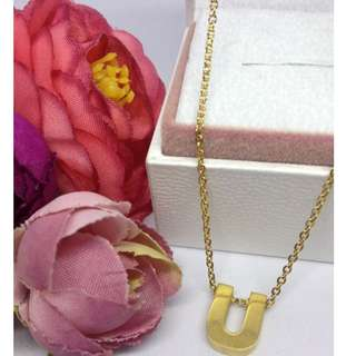 Authentic Bangkok Gold 10k Saudi Gold Chain Necklace & Initial Pendant Letter U Non Tarnish (Not Pawnable)