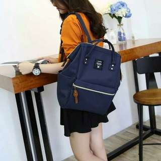Instock 💯 Authentic Navy Anello Canvas Backpack