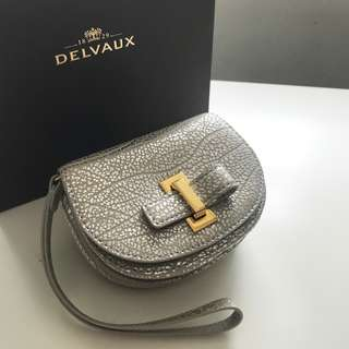 【Delvaux】Le Mutin Card Holder Antique Silver wristlet leather 17/18 AW 咭片套 散紙包