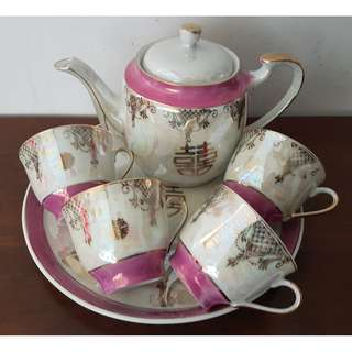 Vintage Etho Fine Porcelain Double Happiness 囍 Wedding Tea Set