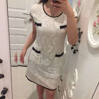 Brukat white dress