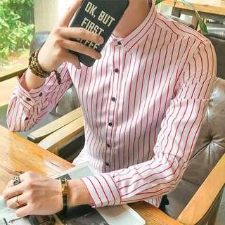 春款直條紋長袖恤衫