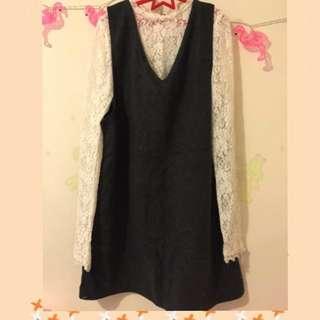🚚 蕾絲V領洋裝兩件式