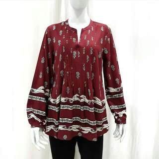 Old Navy Pintuck Pleated Maroon Blouse