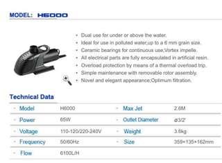 HAILEA H-6000 Pond Pump