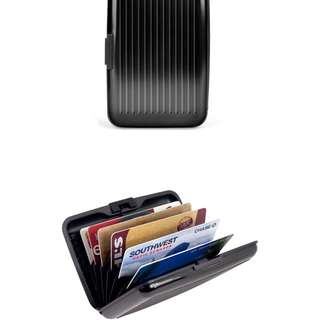 Credit card black wallet aluminum.