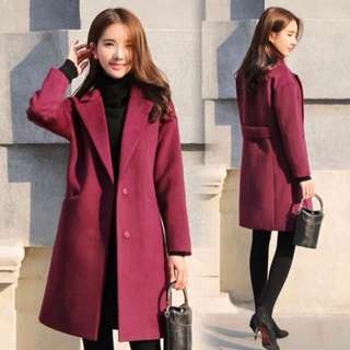 (S~2XL) Autumn and winter Korean women loose woolen coat long woolen coat
