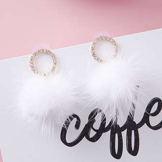 Mink Fur Ball Ear Cubic Ring Studs - Black/White/Red/Pink/